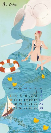 カレンダー 8月(2014年度版) 吉岡ゆうこオリジナルイラストカレンダー