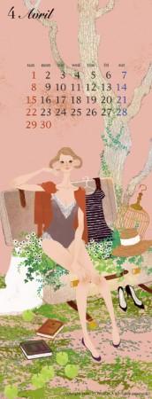カレンダー 4月(2012年度版) 吉岡ゆうこオリジナルイラストカレンダー