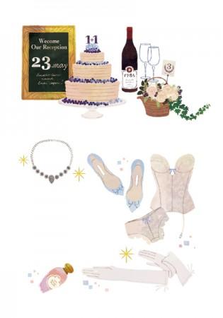 リクルート ゼクシィ ゼクシィプレミアム ウェディング ウェディングドレス 結婚 ランジェリー ケーキ 結婚式 小物 吉岡ゆうこ イラスト ブーケ