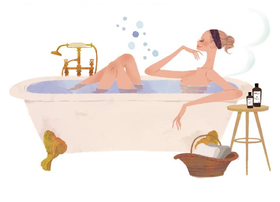 集英社 MAQUIA 雑誌 雑誌イラストカット カットイラスト 女性 美容 マキア 美容 お風呂 リラックス バスタブ イラスト 吉岡ゆうこ