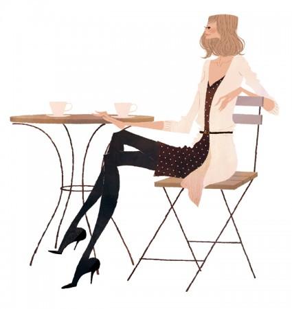 イラストレーション イラスト ファッションイラストレーション ファッションイラスト シック おしゃれ カフェ お茶 吉岡ゆうこ