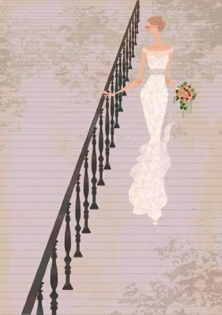 イラストレーション  イラスト ファッションイラストレーション ファッションイラスト シック おしゃれ ウェディング 花嫁 ブライダル ウェディングドレス 女性イラスト 吉岡ゆうこ