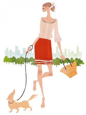 イラストレーション イラスト ファッションイラストレーション ファッションイラスト シック おしゃれ  都会 散歩 犬 リラックス 吉岡ゆうこ