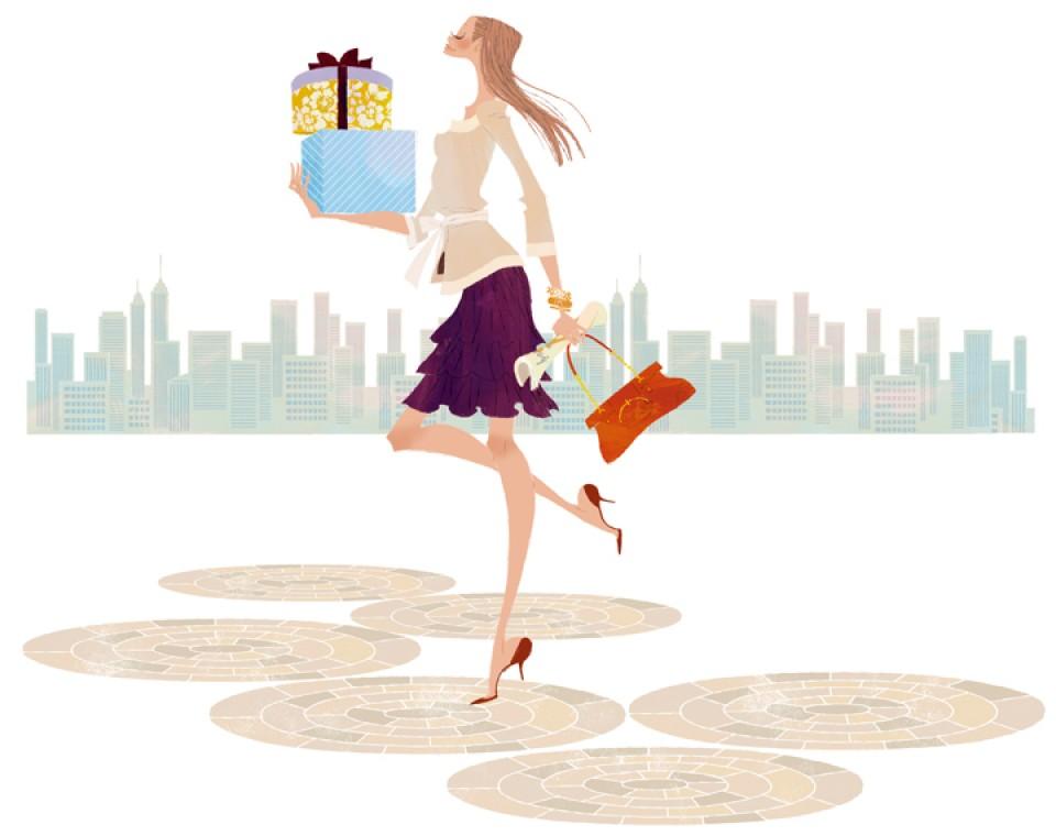 イラストレーション イラスト ファッションイラストレーション ファッションイラスト シック おしゃれ  都会 買い物 街並 風景 プレゼント ショッピング 吉岡ゆうこ