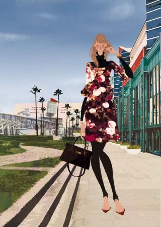 アジア太平洋トレードセンター館内ガイド表紙・2009年秋号 パンフレット カタログイラスト 吉岡ゆうこ ファッションイラスト