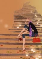アテニア化粧品会報誌『ATTENIR』表紙イラスト 2009年10月号 吉岡ゆうこ(2009.10)