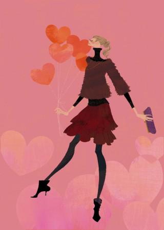 アテニア化粧品会報誌『ATTENIR』表紙イラスト 2009年2月号 吉岡ゆうこ(2009.2)