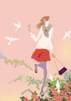 アテニア化粧品会報誌『ATTENIR』表紙イラスト 2010年1月号 吉岡ゆうこ(2010.1)