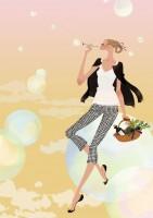 アテニア化粧品会報誌『ATTENIR』表紙イラスト 2010年4月号 吉岡ゆうこ(2010.4)