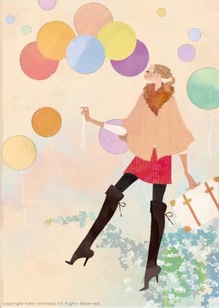 アテニア化粧品会報誌『ATTENIR』表紙イラスト 2011年1月号 吉岡ゆうこ(2011.1)