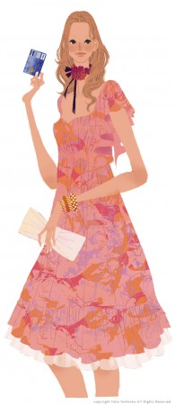 東急百貨店TOP&ClubQカード広告媒体・2010年春夏 ポスターイラスト 吉岡ゆうこ(2009.3)