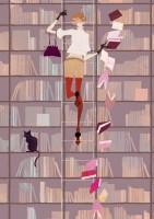 人物 女性 イラストレーション イラスト ファッションイラストレーション ファッションイラスト シック おしゃれ インテリア 本棚 図書館 ネコ 猫 抽象 吉岡ゆうこ