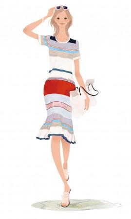 東急百貨店 TOP&ClubQポイントカード 広告媒体 2015年春夏 ポスターイラスト ファッション 女性 春夏 吉岡ゆうこ