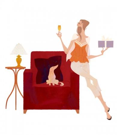 イラストレーション イラスト ファッションイラストレーション ファッションイラスト シック おしゃれ インテリア ソファ リラックス 犬 リラックス 吉岡ゆうこ