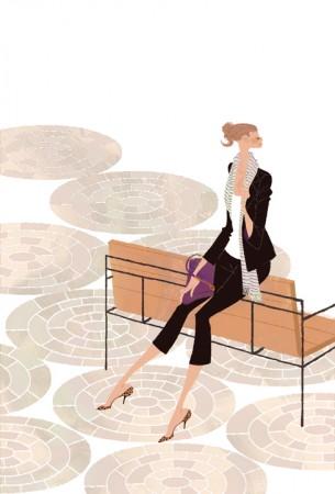 イラストレーション イラスト ファッションイラストレーション ファッションイラスト シック おしゃれ 街並 待ち合わせ 都会 ベンチに座る 吉岡ゆうこ