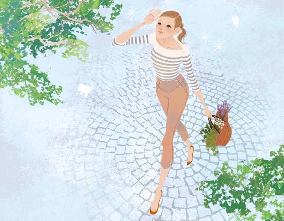 文藝春秋社 CREA 雑誌 雑誌イラストカット カットイラスト ファッション シチュエーション 女性 イラスト 吉岡ゆうこ