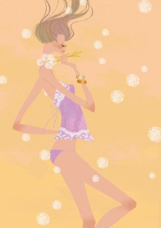 人物 女性 イラストレーション イラスト ファッションイラストレーション ファッションイラスト シック おしゃれ 下着 アンダーウェア たんぽぽ 抽象 イメージ 吉岡ゆうこ