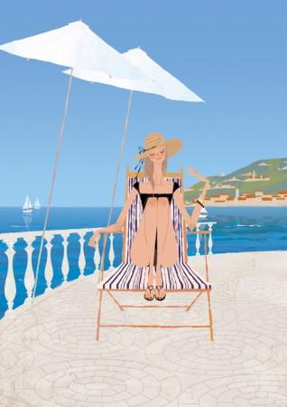 人物 女性 イラストレーション イラスト ファッションイラストレーション ファッションイラスト シック おしゃれ 水着 バカンス 地中海 ギリシャ 青空 吉岡ゆうこ