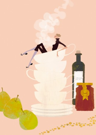 人物 女性 イラストレーション イラスト ファッションイラストレーション ファッションイラスト シック おしゃれ カップ&ソーサー 食べ物 イメージ 抽象 湯気 吉岡ゆうこ