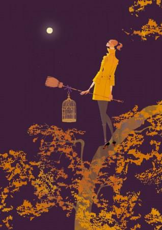 人物 女性 イラストレーション イラスト ファッションイラストレーション ファッションイラスト シック おしゃれ 夜 満月 深夜 森 樹木 木の上 ほうき 魔女 イメージ 抽象 鳥かご 吉岡ゆうこ