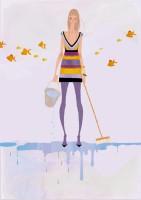人物 女性 イラストレーション イラスト ファッションイラストレーション ファッションイラスト シック おしゃれ 金魚 抽象 イメージ 吉岡ゆうこ