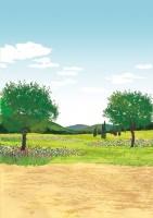 ロクシタン 化粧品 ポスター 風景 ラベンダー 自然 ハーブ 山 木々 花