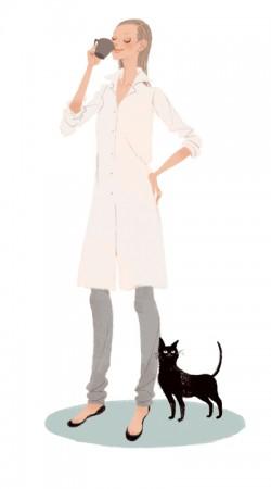 集英社 MAQUIA 雑誌 雑誌イラストカット カットイラスト 女性 美容 マキア 美容 朝 リラックス 健康的 ヘルシー イラスト 吉岡ゆうこ
