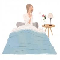 集英社 MAQUIA 雑誌 雑誌イラストカット カットイラスト 女性 美容 マキア 美容 ベッド ベッドルーム 就寝 薔薇 花 フラワー リラックス 健康的 ヘルシー イラスト 吉岡ゆうこ