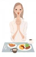 集英社 MAQUIA 雑誌 雑誌イラストカット カットイラスト 女性 美容 マキア 美容 朝ごはん 朝食 リラックス 健康的 ヘルシー イラスト 吉岡ゆうこ