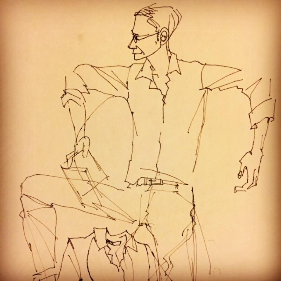 イラストレーション イラスト 線画 ドローイング drawing 男性ファッション 男性 ファッションイラストレーション ファッションイラスト 吉岡ゆうこ