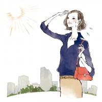 会報誌 DECENCIA CRAS イラストレーション ファッションイラスト ファッションイラストレーション 線画 水彩風イラスト ビューティー 化粧品 ワーキングイラスト パソコン 仕事 女性イラスト 街中 日射し 日焼け対策 吉岡ゆうこ