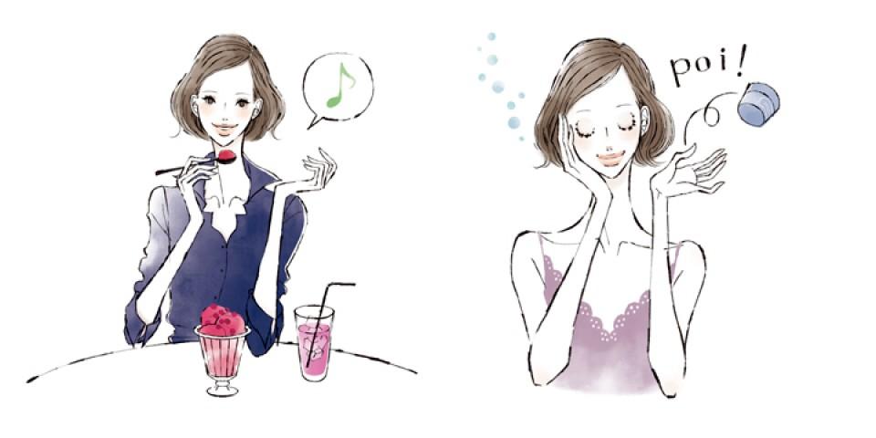 会報誌 DECENCIA CRAS イラストレーション ファッションイラスト ファッションイラストレーション 線画 水彩風イラスト ビューティー 化粧品 ワーキングイラスト パソコン 仕事 女性イラスト 食生活 フード スイーツ スキンケアイラスト 吉岡ゆうこ