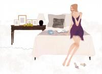 イラストレーション イラスト  drawing 女性ファッション ファッションイラストレーション ファッションイラスト ベッドルーム インテリア ガーリー ガールズイラスト リラックス ランジェリー ベッド 電話 おしゃれ シンプル 大人っぽい 吉岡ゆうこ