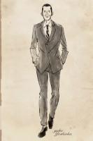 イラストレーション イラスト ファッションイラストレーション ファッションイラスト シック 線画 ドローイング 大人っぽい 男性 男性ファッション スーツ 白黒イラスト  おしゃれ 吉岡ゆうこ
