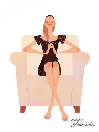 イラストレーション イラスト  drawing 女性ファッション ファッションイラストレーション ファッションイラスト ソファ インテリア ガーリー ガールズイラスト リラックス  おしゃれ シンプル 大人っぽい 吉岡ゆうこ