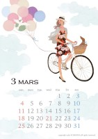 カレンダー 2018年カレンダー イラストレーション ファッションイラストレーション ライフスタイル 自転車 雲 抽象 女性 犬 インテリア おしゃれ 上品 吉岡ゆうこ yukoyoshioka