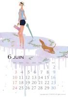 カレンダー 2018年カレンダー イラストレーション ファッションイラストレーション ライフスタイル 女性 犬 抽象 梅雨 雨 おしゃれ 上品 吉岡ゆうこ yukoyoshioka