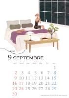 カレンダー 2018年カレンダー イラストレーション ファッションイラストレーション ライフスタイル 女性 犬 インテリア ベッドルーム おしゃれ 上品 吉岡ゆうこ yukoyoshioka