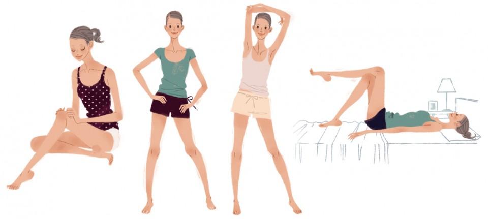書籍 書籍中面イラスト 中面イラストレーション 週末脚やせダイエット 久優子 ダイエット 美容 体操 マッサージ ストレッチ 女性 上品 人物 ファッションイラスト 吉岡ゆうこ