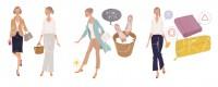 マガジンハウス 雑誌 雑誌イラストカット ムック本 ムック本イラスト 女性 ファッションイラスト イラスト イラストレーション ファッション コーディネート ライフスタイル 風水 吉岡ゆうこ