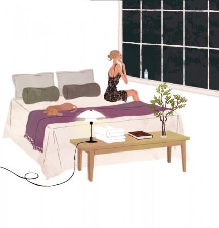 illustration fashionillustration イラストレーション イラスト drawing 女性ファッション ファッションイラストレーション ファッションイラスト ベッド ベッドルーム インテリア ライフスタイル リラックス  おしゃれ シンプル 大人っぽい 犬 犬との生活 吉岡ゆうこ