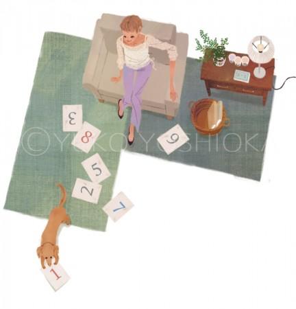 illustration fashionillustration イラストレーション イラスト drawing 女性ファッション ファッションイラストレーション ファッションイラスト ソファ インテリア ライフスタイル リラックス  おしゃれ シンプル 大人っぽい 犬 犬との生活 吉岡ゆうこ