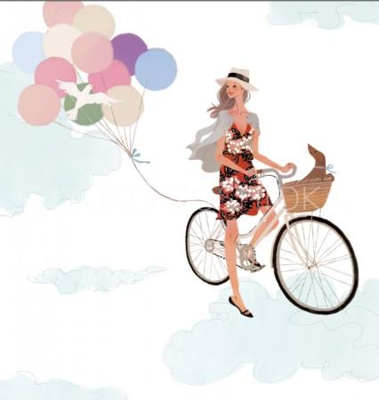 illustration fashionillustration イラストレーション イラスト drawing 女性ファッション ファッションイラストレーション ファッションイラスト 自転車 抽象イラスト 自転車 空 ライフスタイル リラックス  おしゃれ シンプル 大人っぽい 犬 犬との生活 吉岡ゆうこ