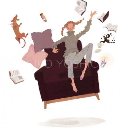 illustration fashionillustration イラストレーション イラスト drawing 女性ファッション ファッションイラストレーション ファッションイラスト 抽象 本 無重力 ソファ インテリア ライフスタイル リラックス  おしゃれ シンプル 大人っぽい 犬 犬との生活 吉岡ゆうこ