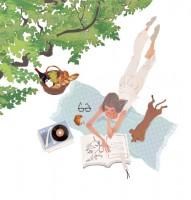 illustration fashionillustration イラストレーション イラスト drawing 女性ファッション ファッションイラストレーション ファッションイラスト ピクニック ワイン パン 木陰 ライフスタイル リラックス  おしゃれ シンプル 大人っぽい 犬 犬との生活 吉岡ゆうこ