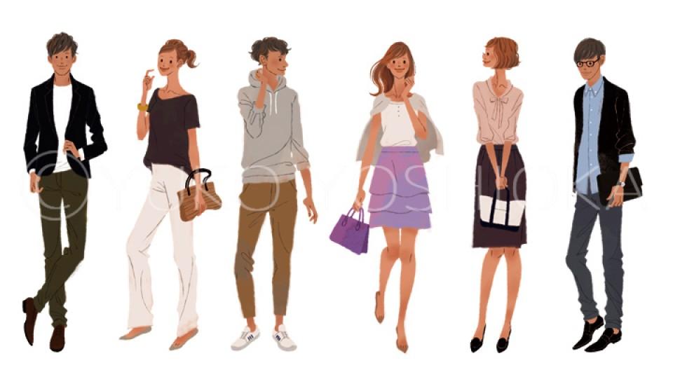 留学ジャーナル 雑誌 雑誌イラストカット 女性 男性 ファッションイラスト イラスト イラストレーション ファッション コーディネート ライフスタイル モバイル スマートフォン 吉岡ゆうこ