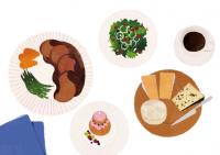 illustration fashionillustration イラストレーション イラスト drawing 食べ物 フード コース料理 おしゃれ シンプル 大人っぽい 吉岡ゆうこ
