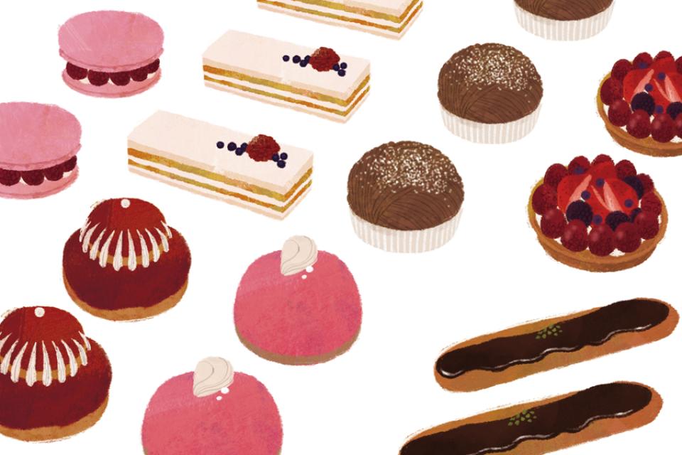 illustration fashionillustration イラストレーション イラスト drawing 食べ物 スイーツ sweets ケーキ マカロン おしゃれ シンプル 大人っぽい 吉岡ゆうこ