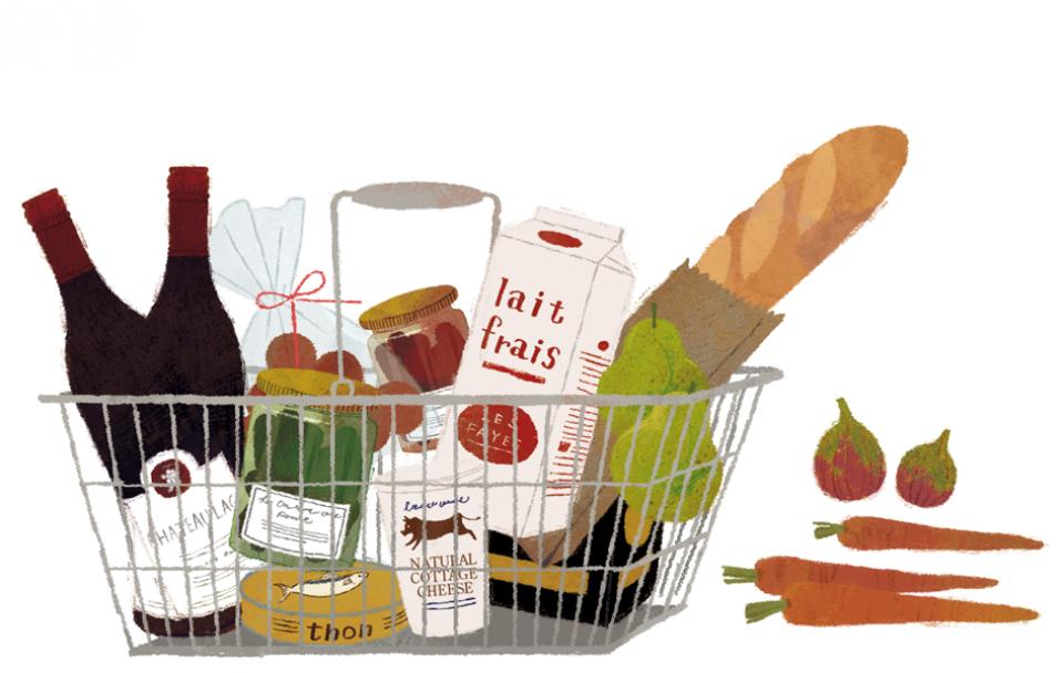 illustration fashionillustration イラストレーション イラスト drawing 食べ物 買い物 マーケット おしゃれ シンプル 大人っぽい 吉岡ゆうこ