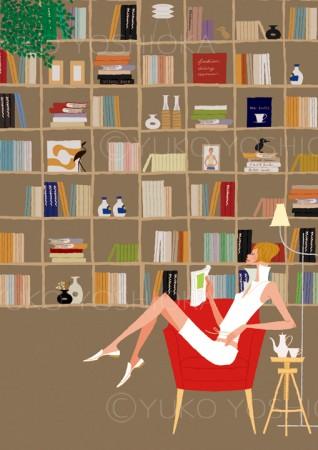 人物 女性 イラストレーション イラスト ファッションイラスト シック おしゃれ 図書館 本 本屋 ライブラリー ブックカフェ 本棚 リラックス ライフスタイル 吉岡ゆうこ